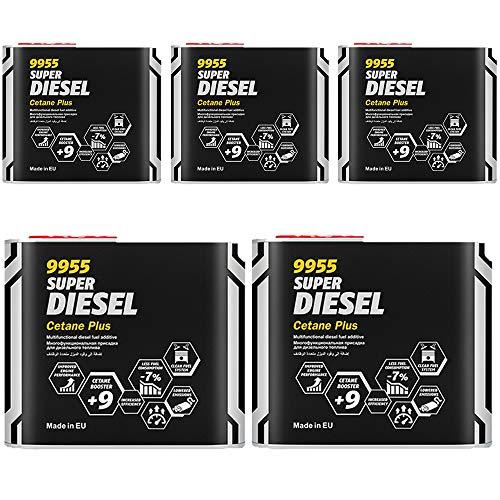 MANNOL 5 x 500 ml, 9955 SUPER Diesel CETAN Plus Kraftstoff ADDITIVE