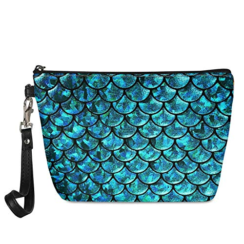 TOADDMOS Creative Blue Mermaid Scale Print Women's Cosmetic Bag Toiletry Pouch Roomy Waterproof Makeup Bags Travel Case Accessories Organizer