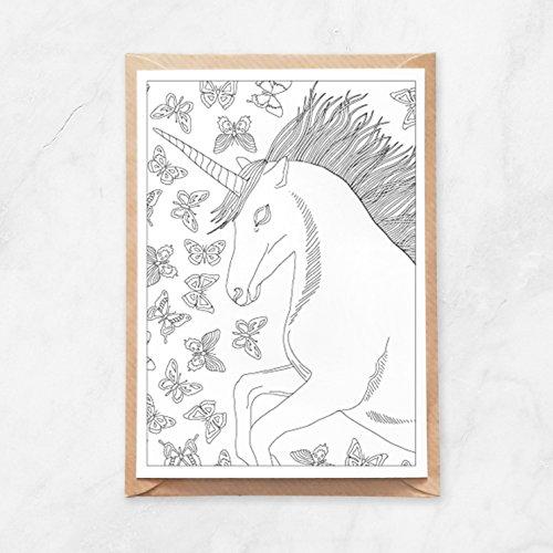 5 Stück, Postkarte zum Ausmalen, Einhorn und Schmetterlinge Muster, A6