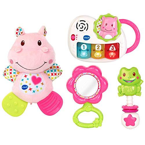 VTech - Canastilla de juguetes, estuche de regalo para bebé recién nacido que incluye peluche mordedor, sonajero, piano interactivo y espejo de seguridad, color rosa (80-522057)
