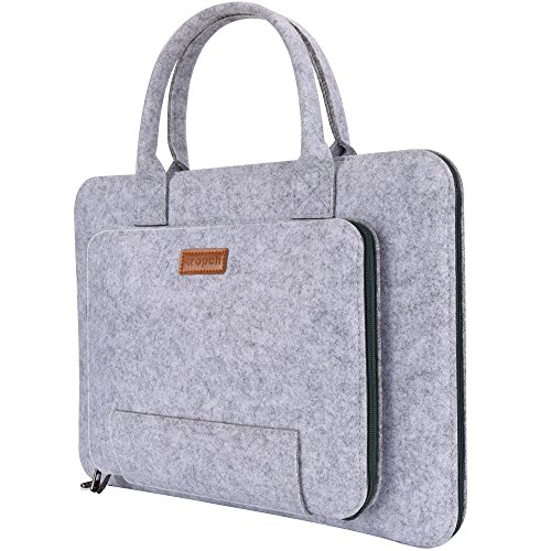 Ropch 15 15.6' Felt Laptop Sleeve with Handle Portable Notebook Carrying Case Bag Pouch for Asus / Acer / Dell / HP / Lenovo / Toshiba, Grey & Black