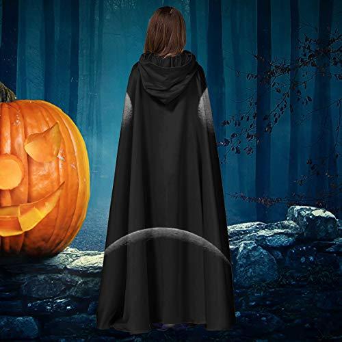 AISFGBJ - Disfraz de Bruja con Capucha para Disfraz de Vampiro de Bruja de Halloween, diseo de Luna y Eclipse