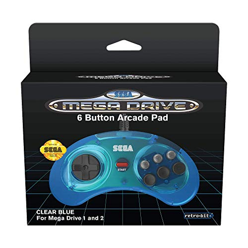 Retro-Bit Official SEGA Mega Drive Controller 6-Button Arcade Pad for Sega Mega Drive/Genesis - Original Port - Clear Blue