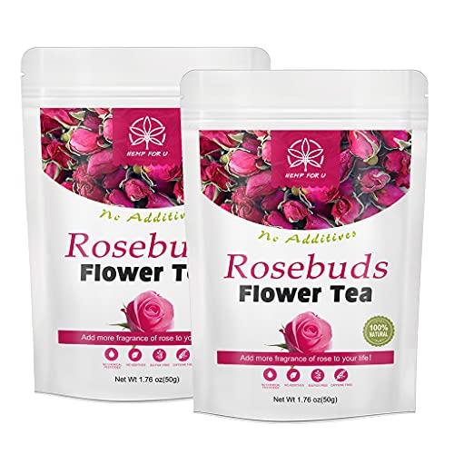 (2 pack) Té de flores de capullos de rosa orgánicos de 50g, té de hierbas naturales, relajante, calma, alivio del estrés, no OGM, té de flores de rosas saludables