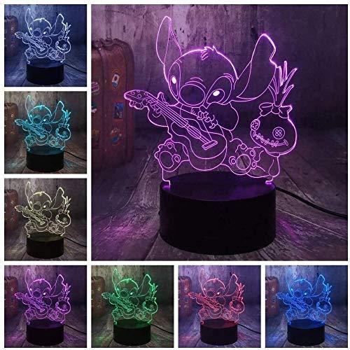 3D illusie touch control lamppadavrienden cartoon-figuur die samen spelen gitaar geschikt voor kinderen / jongens / meisjes / slaapkamer (geschenken voor verjaardag / Valentijnsdag / vrijdag zwart)