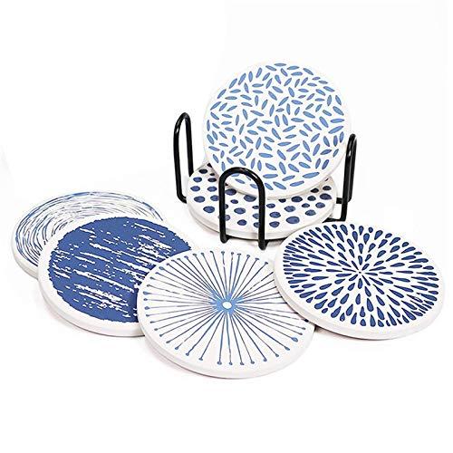Zhengowen Portavasos Coaster Redondo Moster de Piedra para Absorber Bebidas con Soporte Cojín de protección de Escritorio Base de Corcho para Tazas Cocina de Oficina Posavasos para el Hogar