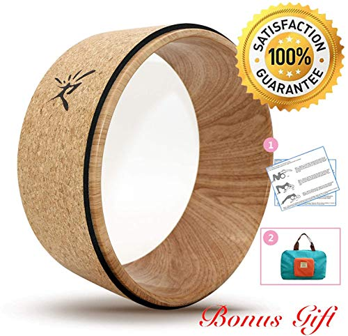 Risefit Cork Yoga Wheel - Strongest Most Comfortable Yoga Prop Wheel for Yoga Poses, Perfect Roller for Stretching, Improving Flexibility and Backbends
