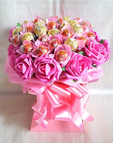 Chocolate Bouquet Pink Ferrero Rocher & Lindt Lindor Chocolates - Sweet Gift Hamper