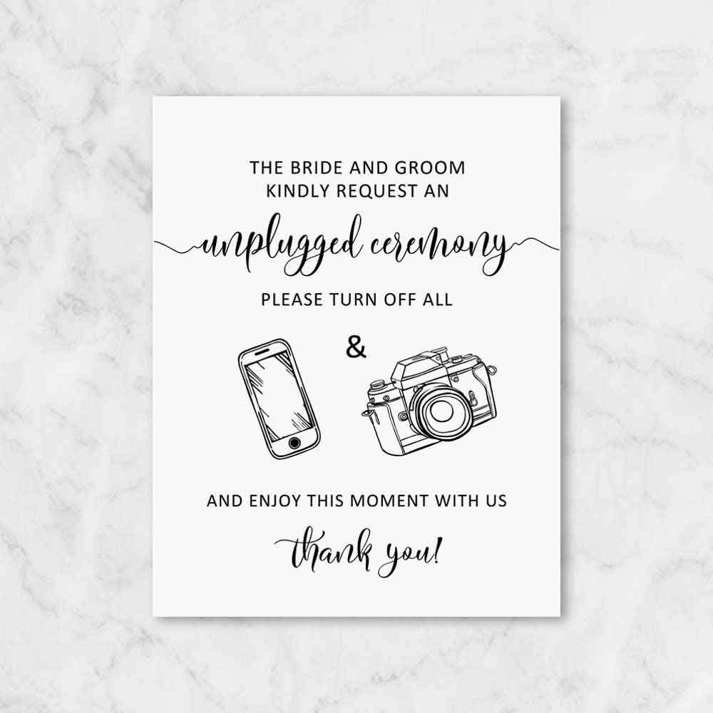 Unplugged Ceremony Sign The High Elegant material Bride and Request Kindly Unp Groom