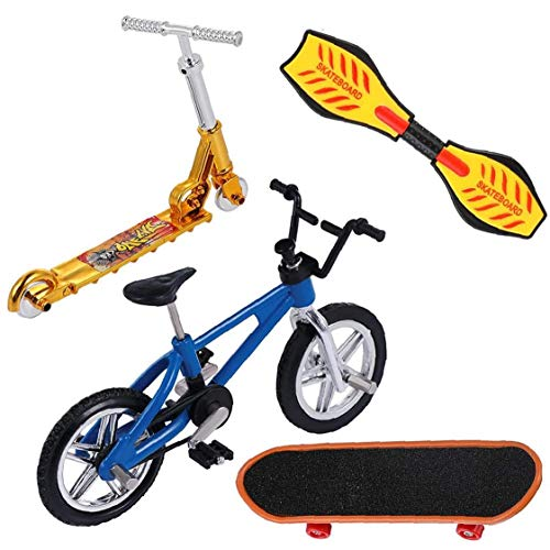 Mini Dedo Juguetes Set Finger Skateboards Bicicletas Diapasones Mini Deportes Regalos de Cumpleaños 4 Piezas Regalo de Vacaciones