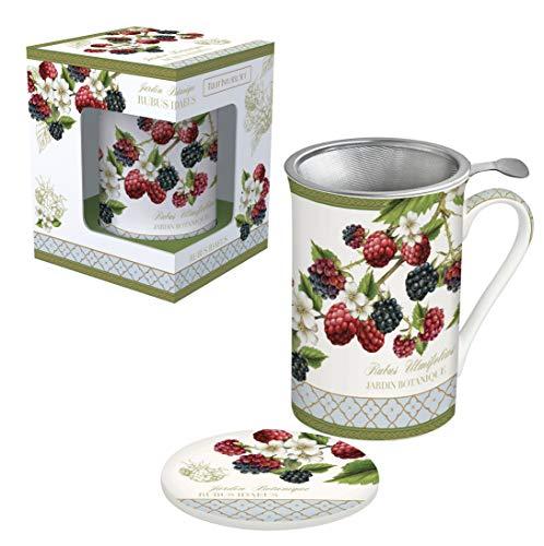 Easy Life 280JBOB - Cofanetto per tè con filtro in acciaio inox, porcellana, multicolore, 30 cm