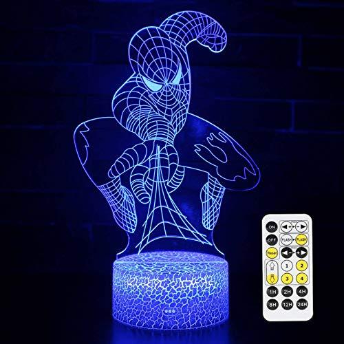 Superhero 3D Night Light,QIKI Spiderman Toys for Boys, Fun Mens Gadget Gifts Ideas, Party Christmas Birthday Favours Gift for Kids Girls Boys (Spiderman)