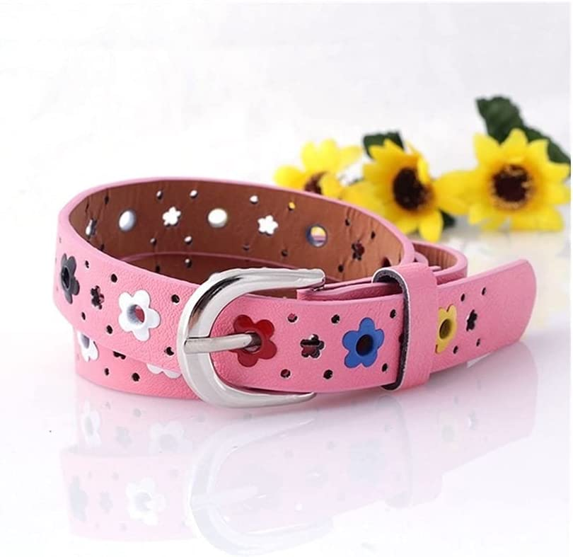 DSJTCH Belt for Children Hollow Butterfly Flowers Leather Children Belt Boys and Girls PU Leather Classic Metal Pin Buckle Adjustable Belts Women Waistband for Dress Jeans Casual Pants Shorts