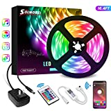 16.4FT LED Strip Lights,SOLMORE Bluetooth RGB LED Strip Music Sync Color Changing LED Lights Strips 24-Key Remote DIY Color Options RGB LED Strip Lights APP Controlled for Room Ceiling Under Cabinet