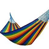 GUHSX Hamacas Hechas a Mano Jumbo Rainbow Striped Swing Hamac Soft Spun Polyester Hamacas Comfort Nylon TejidoColorMaya Rede