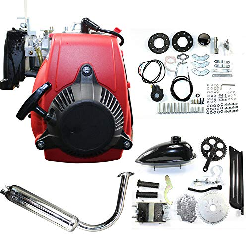 Bicycle Engine Kit 49cc 4-Stroke Gas Petrol Motorized Bike Engine Motor Kit Bicycle Scooter DIY Conversion Set W/Chain Drive