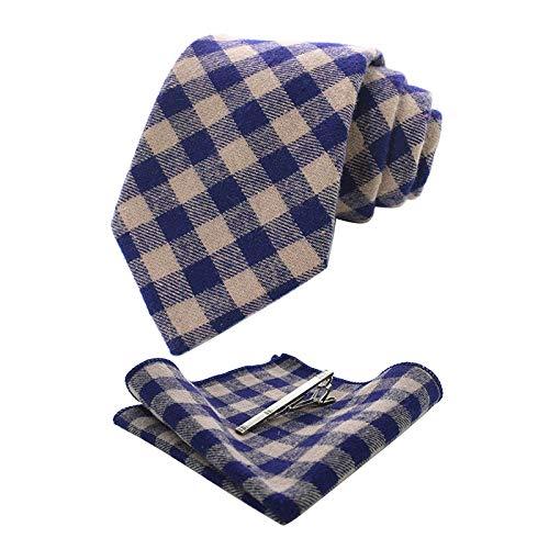 LUHELDM Corbata de los Hombres Hecho a Mano 8 cm Rayas de Tela Escocesa Corbata de Lazo Accesorios de Ropa Pañuelo de Bolsillo Cuadrado Broche Conjunto004