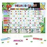 Reward Chart for Kids, Magnetic Responsibility Chore Chart for Multiple Kids Behavior Star Chart for Toddlers Homeschool Supplies with Dinosaur Theme 90 Tasks 300 Stars