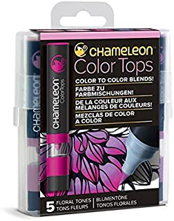Chameleon Art Products, Floral Tones, Color Tops, Quick and Easy Blending - Set of 5