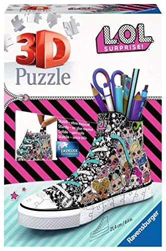 Ravensburger 3D Puzzle 11163 Sneaker L.O.L. Surprise! - Praktischer Stiftehalter - 108 Teile - Schreibtisch-Organizer für Kinder ab 8 Jahren