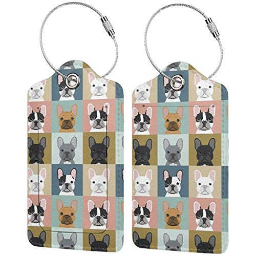 NiYoung Unisex French Bulldog Dog Luggage Tag Fashion Travel ID Handbag Tag Durable Travel Luggage Tags with Full Privacy Cover and Stainless Steel Loop