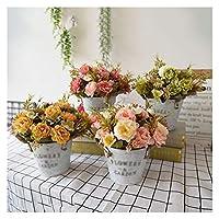 YYFANG 壁に取り付けられた/ポータブル デスクトップ アイアンハーフラウンドシェイプ 植木鉢 花のバケツ 屋内屋外の家の庭の装飾 (Color : Gray-4pcs, Size : 13x11cm)