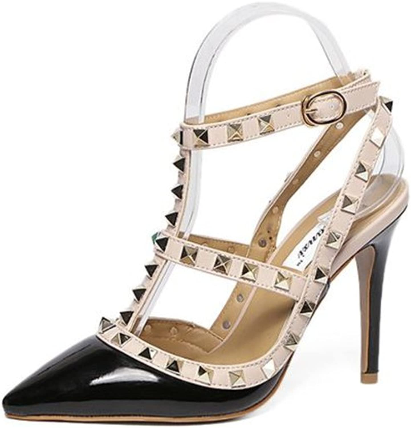 Pointed Toe Studded Strappy Slingback High Heel Leather Pumps Stilettos Sandals
