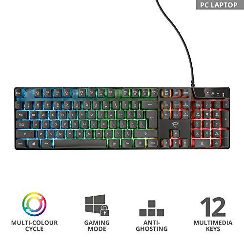 Trust Gaming GXT 835 Azor Gaming Tastatur mit Beleuchtung Deutsches QWERTZ Layout, Tastaturlayout in Originalgröße, 3 LED-Farbmodi, Anti-Ghosting, 12 Multimedia-Funktionstasten, PC/Laptop