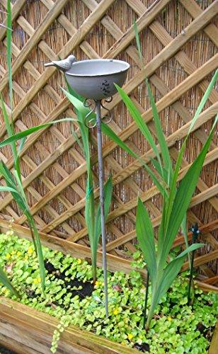 Vogeltränke auf Stab, Futterstelle, Gartenstab, Gartenstecker, Eisen