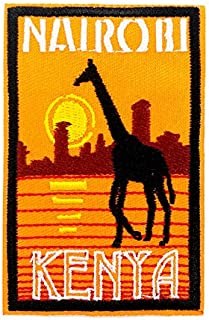 3.5'' Nairobi Kenya Vintage Post Embroidered Iron On Badge Giraffe Africa Savanna Travel Souvenirs