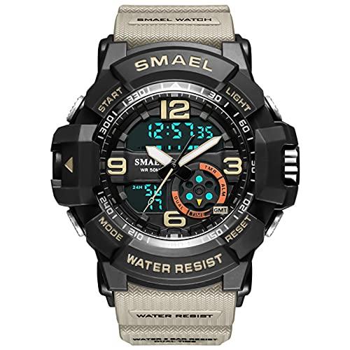 QZPM Relojes Deportivos Digital para Hombre, con Retroiluminación Alarma 50M Resistente Al Agua Multifuncional Grande De La Cara Militar Relojes Electrónicos,Caqui
