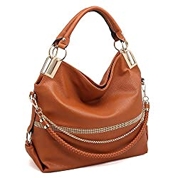 Brown With Rhinestone & Chain Top Handle Shoulder Bag