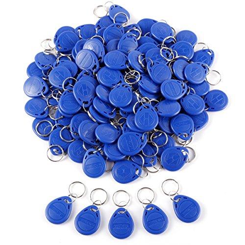 Anladia 50/100 St. RFID Transponder Chipschlüssel Code Schloss Key fob Schlüsselanhänger Chip Tags Blau/Rot (100tlg Blau)