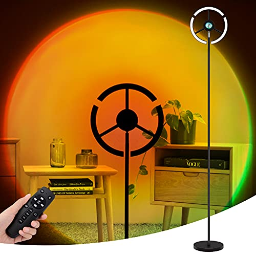 Yabtf Lámpara de pie LED, 3000 ~ 6500 K, regulable, proyector Sunset con RGB, mando a distancia y 4 modos, cambio de color para salón, dormitorio, 18 W/2600 lm