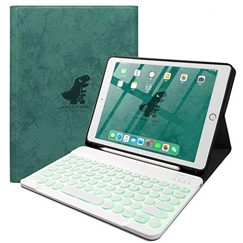 Funda para Teclado para iPad Pro 11 2020 (Diseño QWERTY), Slim Folio Smart Stand Funda con Tapa con Teclado Inalámbrico Magnético Extraíble - Tapa Redonda,A Backlight