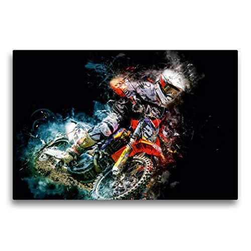 Premium Textil-Leinwand 75 x 50 cm Quer-Format Motocross | Wandbild, HD-Bild auf Keilrahmen, Fertigbild auf hochwertigem Vlies, Leinwanddruck von Peter Roder