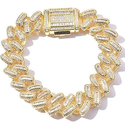CHXISHOP Hip Hop Bracelet Square and Round Zircon Mixed Inlaid 15mm Cuban Bracelet Men's Trendy Hip Hop Bracelet gold-7 inch