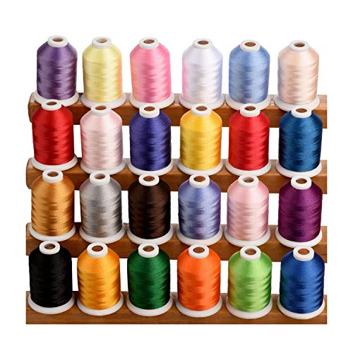 Simthread 1100 Yards 1000m miniking Spool 24 Assorted Colors Trilobal Polyester Embroidery Machine Thread for Special Designs on Most Home or Commercial Embroidery Sewing Machines