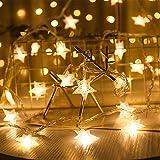 Guirnalda de Luces,Star Luces de Hadas Estrella de la Noche Luz de la Secuencia 6M 40Pcs LED Estrellas de Luces Brillante Decoración Luz Blanco Cálido