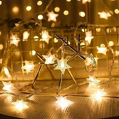 Tira de luces decorativas: luces blancas cálidas con forma de estrella que ayudan a crear un gran ambiente para cada cosa normal, traen una excelente iluminación y un ambiente romántico para tu hogar, dormitorio, boda, fiesta, patio, etc Apariencia: ...