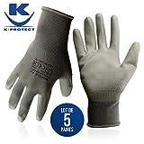 KELI FRANCE - K•Protect - 5 Paires de Gants de Protection polyuréthane PU à Usages Multiples, Gant de Protection avec Préhension et Confort Supérieurs, Gris,Taille 10