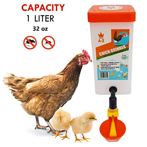 Chicken Waterer Chick Baby Supplies Automatic Refill Chick Cup Drinker no Mess Hanging Drinker Feeder- Bird Bucket Drinking Cup- Poultry Brooder Duck Hen Quail Water Box-Coop.1 Litre (32 Oz).