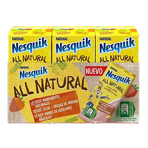 Nestlé Nesquik All Natural Fresa Ready to Drink 3x180 ml - Pack de 8 - Total: 8x3x180 ml
