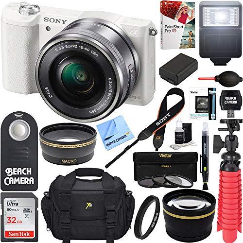Sony Alpha a5100 HD 1080p Mirrorless Digital Camera White + 16-50mm Lens Kit + 32GB Accessory Bundle + DSLR Photo Bag + Extra Battery + Wide Angle Lens + 2x Telephoto Lens + Flash + Remote + Tripod