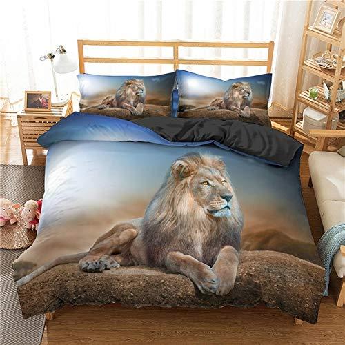 Mdsfe 3D Lion King Bedding Sets with Pillowcases Bed Linens set Comforter Bedding Sets Quilt/Duvet Cover Set 2/3 pcs - CD293-3, duvet cover, UK Double 200x200cm