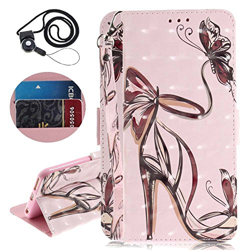 Coopay Portefeuille Femme Etui en Cuir PU pour Samsung Galaxy A8 2018 (SM-A530) Rose Papillon Talons Hauts Motif Porte Cartes Support Cover Coque de Protection Antichoc Etanche Bumper + Dragonne Cou