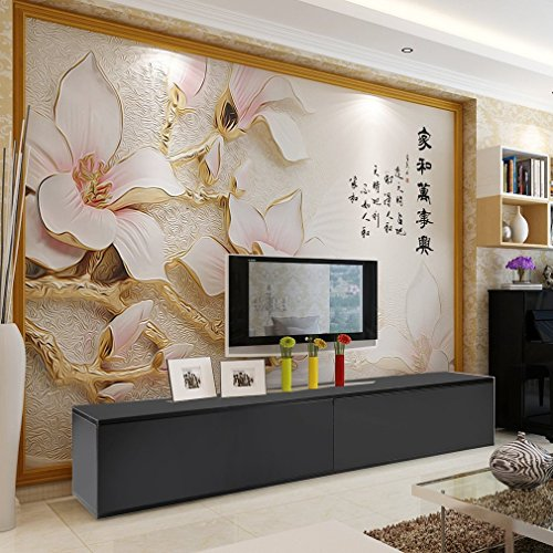 ALTERDJ tv-kast lowboard sideboard tafel meubel 130 cm met LED - verlichting wit hoogglans Zwart: 182 x 40 x 30 cm.