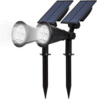 T-SUN Solar Powered Lights Outdoor,LED Spotlights Adjustable Landscape Wall Light,IP65 Waterproof Security Lighting Dark Sensing Auto On/Off for Trees Yard Garden Driveway Pool Patio(2 Pack White)