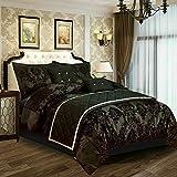 VSK - Set di biancheria da letto con copripiumino e federa per letto matrimoniale, 3 pezzi, colore: Nero