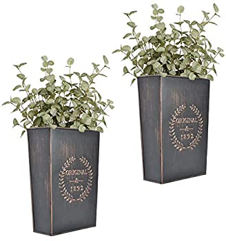 LESEN Rustic Metal Wall Planter Country Home Hanging Wall Vase Pocket for Plants or Flower Indoor or Outdoor Farmhouse Wall Decor,Set of 2…